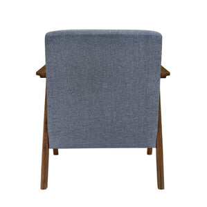 back of Single Armchair WALNUT FRAME and MID GREY FABRIC