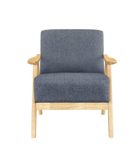 front of Single Armchair with LIGHT OAK FRAME and MID GREY FABRIC