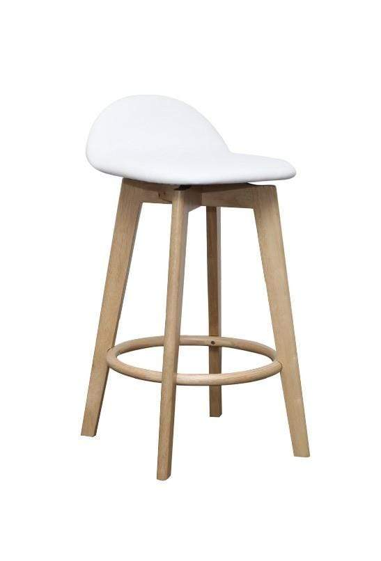 Caulfield Solid Oak Barstool with oak frame and white seat