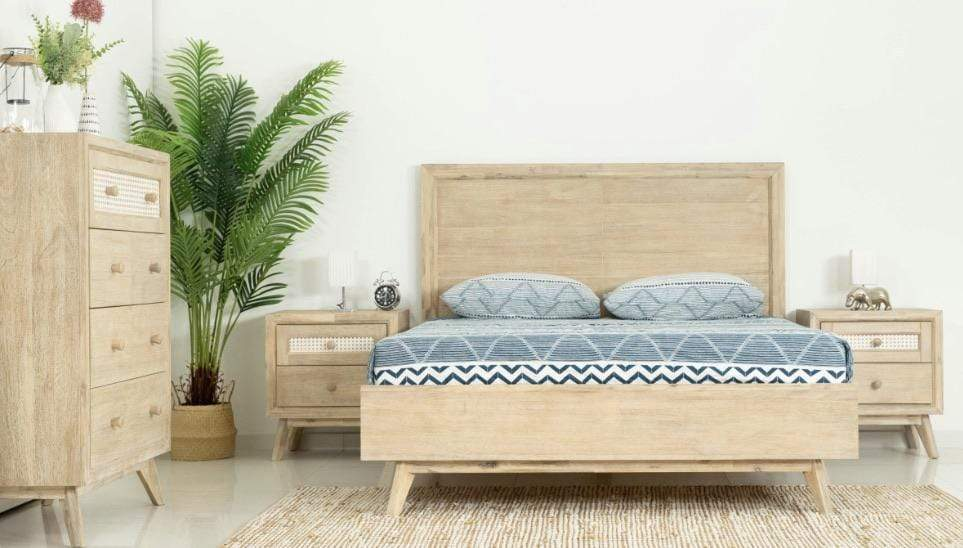 Coastal 4 Piece Solid Timber and Cane Bedroom Suite