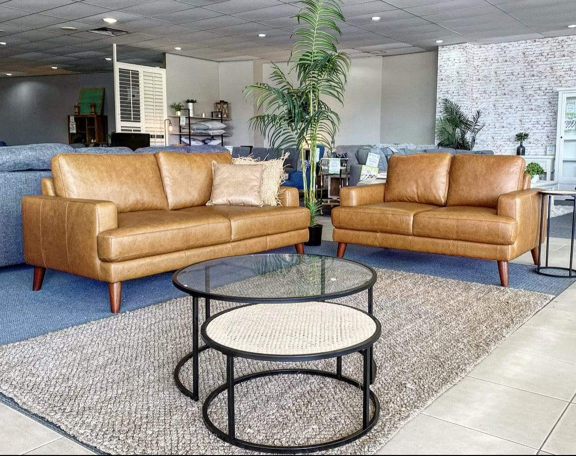 Oklahoma Premium 100% Leather Sofa Pair
