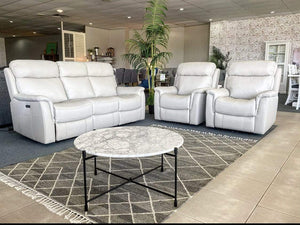 Hyatt 100% Leather Theatre Lounge Suite with 2 Single Reclinders and 3 Seater with middle console downHyatt 100% Leather Theatre Lounge Suite with 2 Single Reclinders and 3 Seater with middle console up