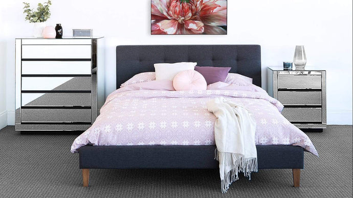 Fabric Bed Frame with Tufted Headboard