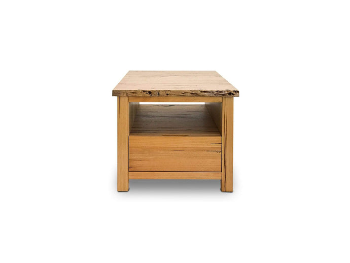 Stringybark Messmate Timber lamp table with drawer