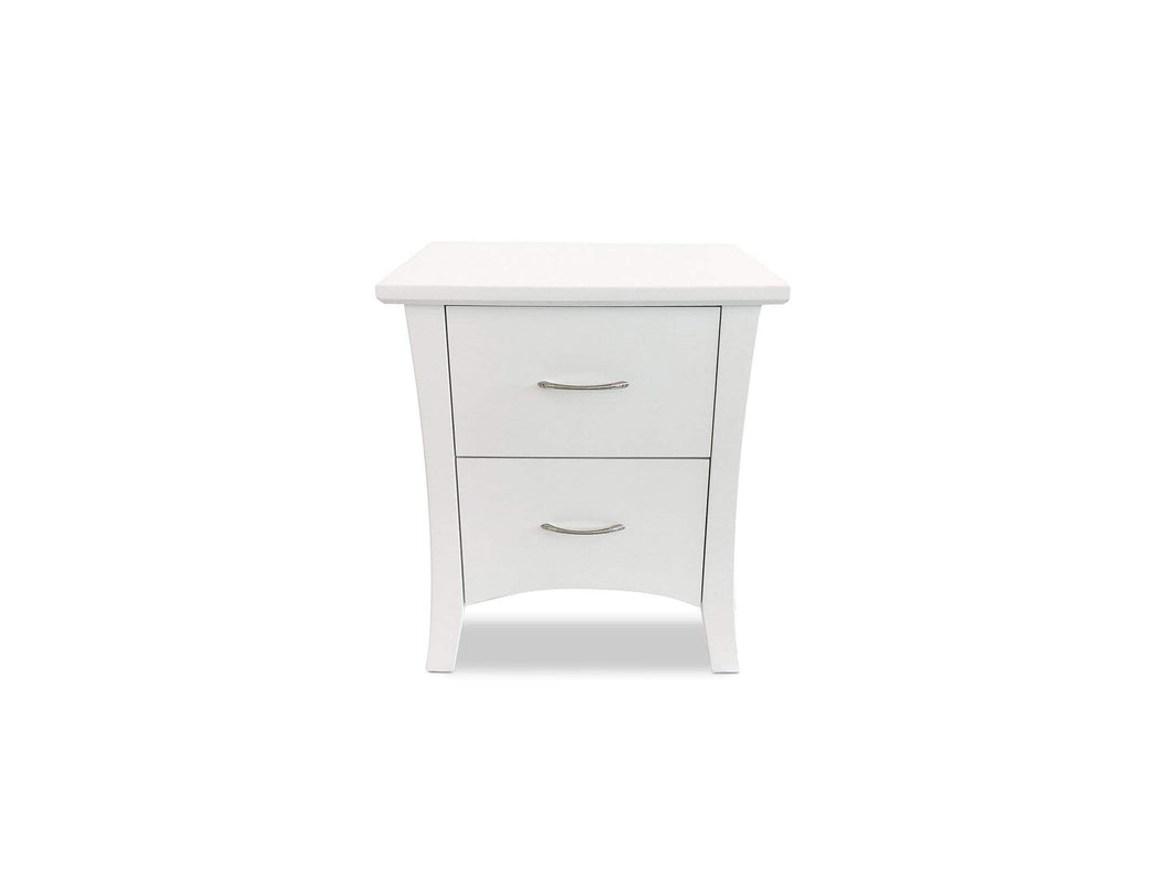 White Timber bedside table with 2 drawers