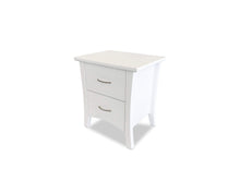 Soho White Timber bedside table with 2 drawer on side angle