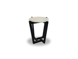 Round marble lamp table with Oak Frame