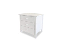 White Solid Timber bedside with 3 Drawers on side angle