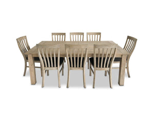 Driftwood 9 Piece Dining Suite with Recycled Timber and Fabric Seat Base