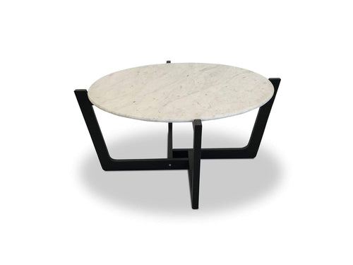Round Italian Marble and Timber Coffee Table 900mm x 900mm