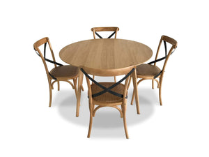Oak dining table and Bamboo dining Chairs
