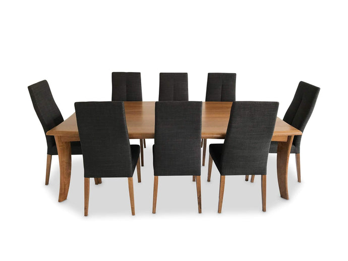 Mountain Oak Dining Suite comes with 8 Urban Dining Chairs