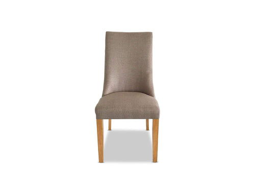 Palermo Linen dining chair with Oak Leg in Taupe