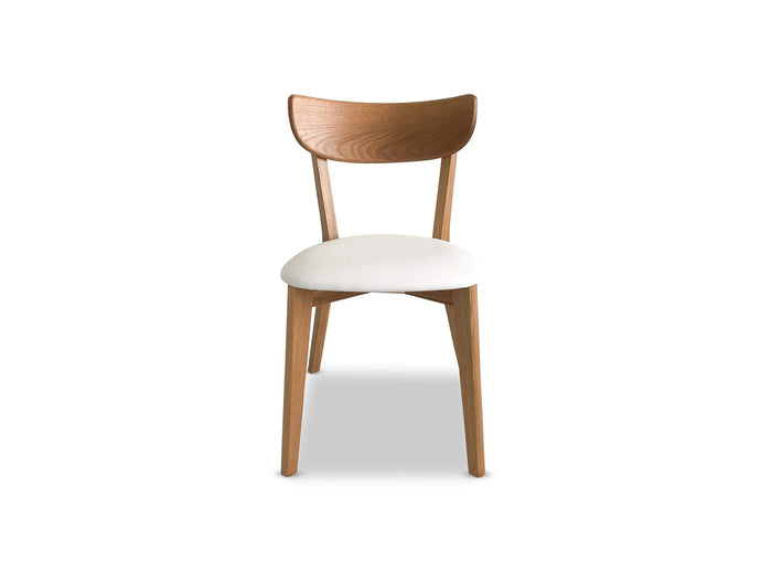 Dining Chairs with Solid Oak Construction and white PU Seat