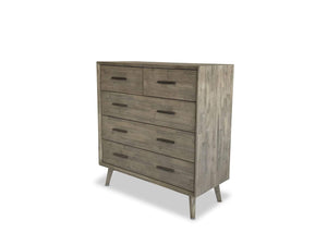 Seattle Timber Whitewash Tallboy with Scandinavian Leg on side angle