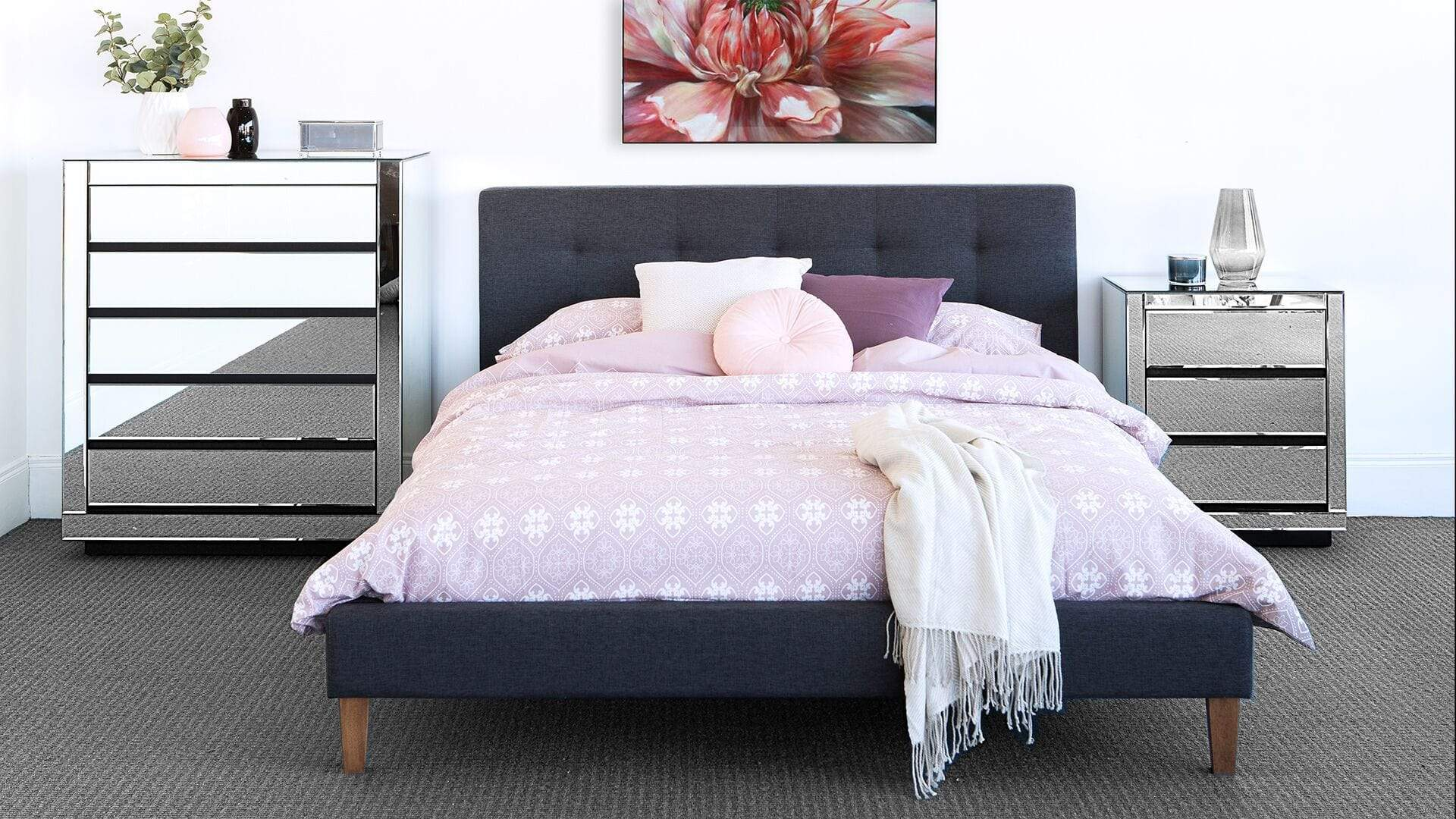 mirrored tallboy, bedside table and fabric bedframe with mattress