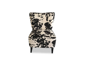 black and white Fabric accent chair with Solid Oak Leg