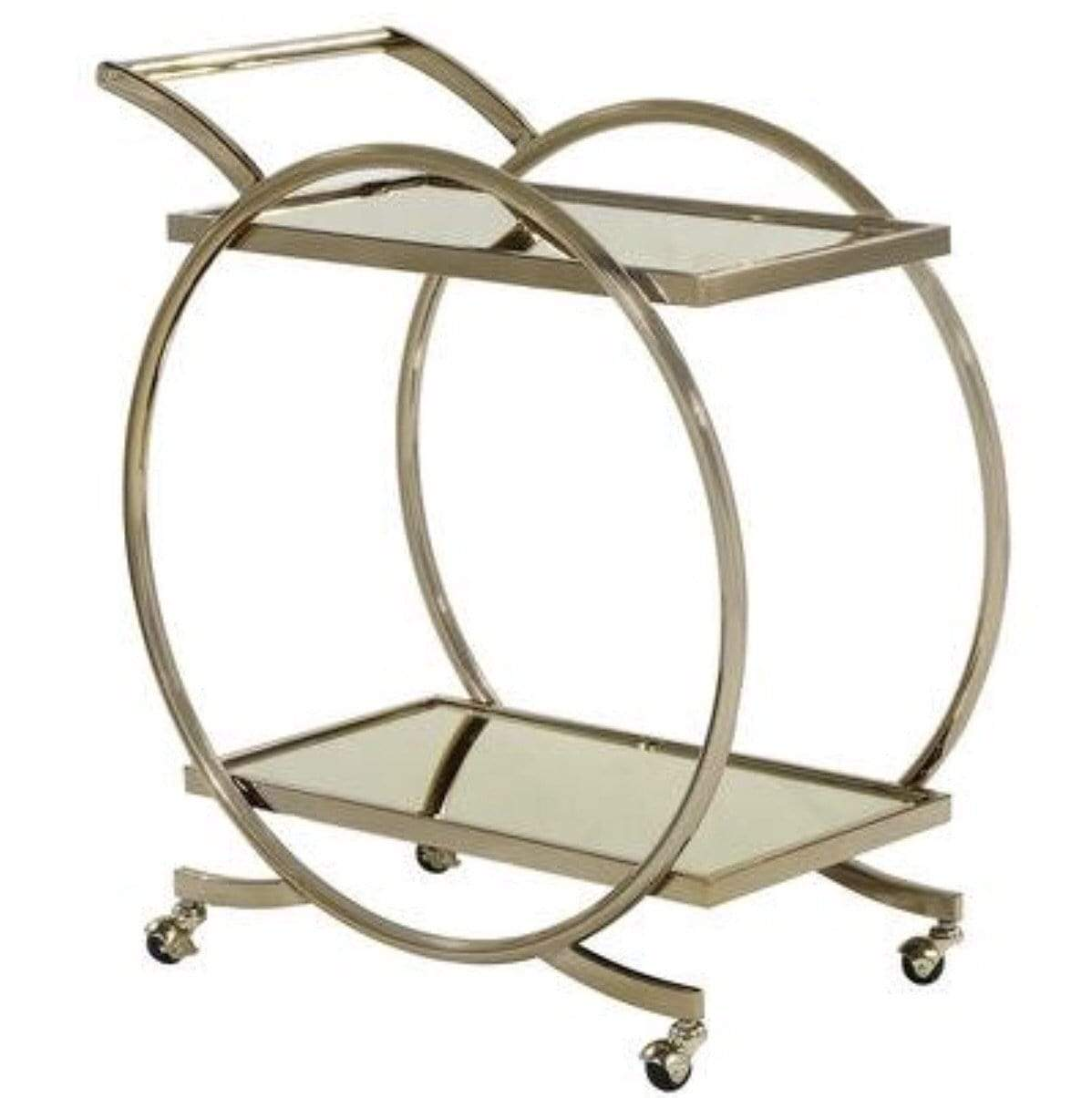 Great Gatsby Metal and Glass Serving Trolley on Castors