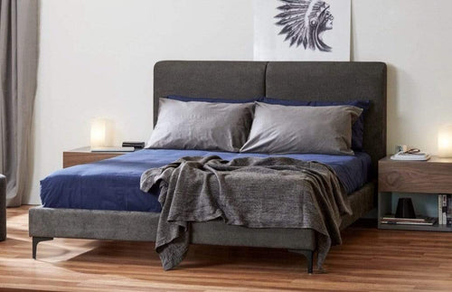 Fabric Bed Frame with Metal leg and stitched back