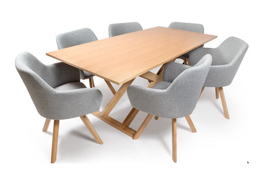 Verna Dining Suite with oak dining table and fabric dining chairs