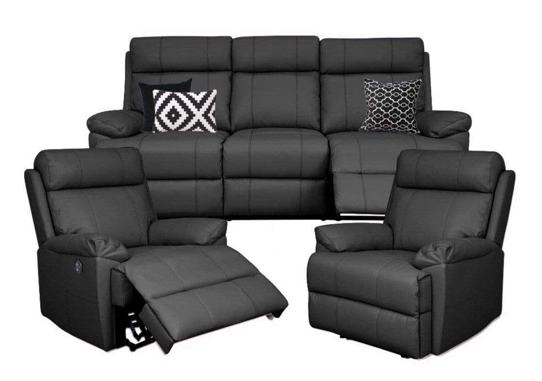 Gilmore 3pce 100% Leather Electric Recliner Suite