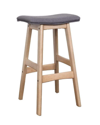 Solid light Oak Saddle Barstool with grey fabric seat