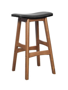 Walnut Solid Oak Saddle Bar Stool with black seat