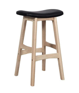 Solid light Oak Saddle Bar Stool with black seat