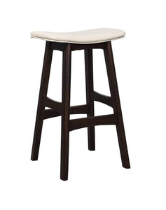 Black Solid Oak Saddle Barstool with white seat