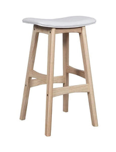 Solid light Oak Saddle Bar Stool with white seat