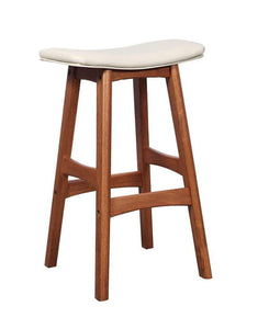 Walnut Solid Oak Saddle Bar Stool with white seat