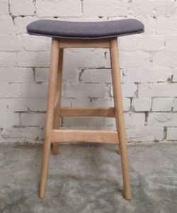 Solid light Oak Saddle Bar Stool with grey seat
