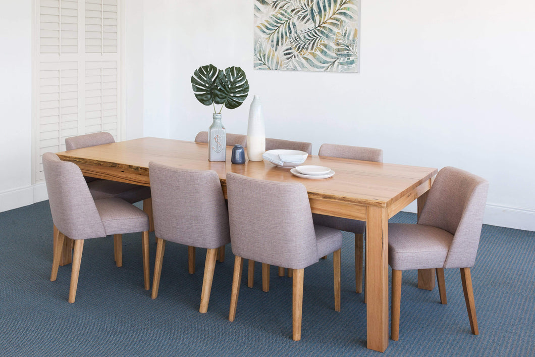 Stringybark dining suite with 8 Fabric Chairs