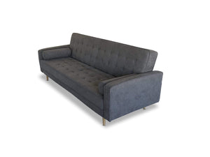 Dark Grey Sofa Bed with Retro Style Scandinavian Design and Clic Clac Action side camera angle
