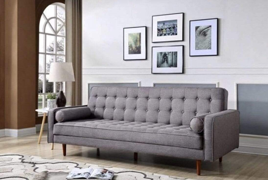 Light Grey Sofa Bed with Retro Style Scandinavian Design and Clic Clac Action