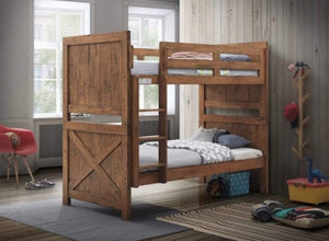 Timber Bunk Bed with Solid Hardwood Industrial Design