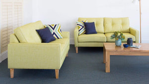 Lemon fabric Sofa Pair with Dunlop Foam Seating