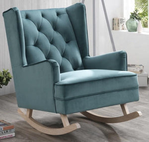 Teal Bloom Velvet Rocking Chair