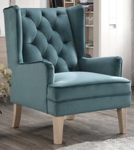 Teal Bloom Velvet Accent Chair