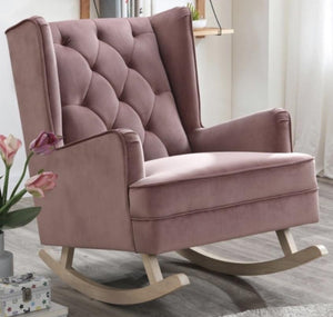 Dusty Pink Bloom Velvet Rocking Chair