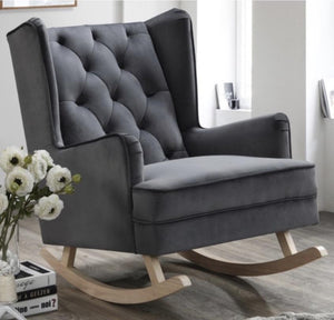 Seal Grey Bloom Velvet Rocking Chair