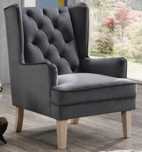 Seal Grey Bloom Velvet Accent Chair