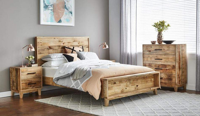 Timber Bed Frame with Recycled Timber and Distressed Finish