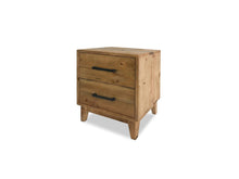 Bondi Bedside Table with Recycled Timber and Distressed Finish on side camera shot
