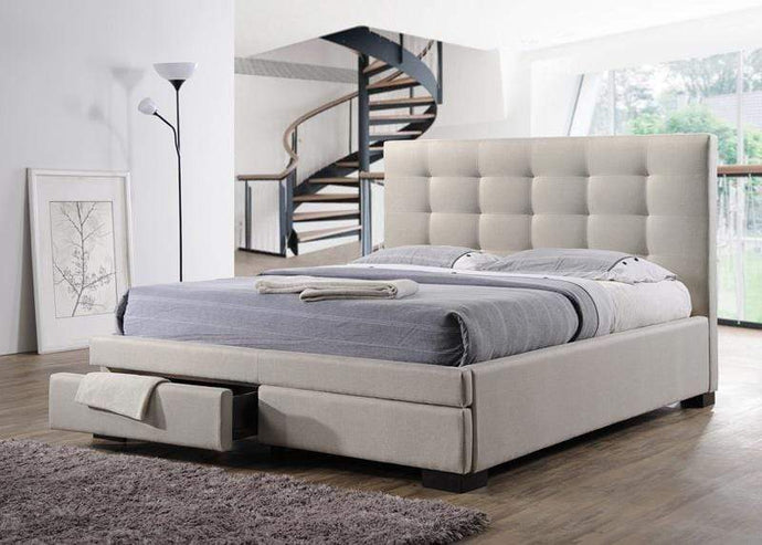 Light Beige Fabric Bed Frame with Storage Drawers