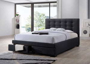 Charcoal Fabric Bed Frame with Storage Drawers