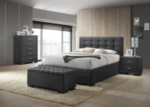 Charcoal Fabric Gas Lift Bed Frame with Fabric Linen Finish