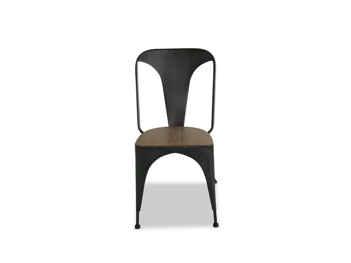 Cabana Dining Chair with Brushed Metal Acacia Seat