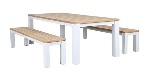 Clayton Bench Outdoor Dining Setting with Teak and White Aluminium Finish