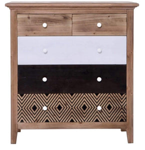 Cleo 5 Drawer Chest with Teak Colour and Pattered Design